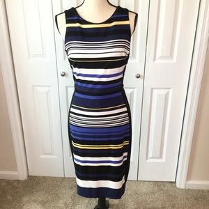 WHBM Black Striped Body Contour Dress size 6